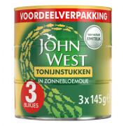 John West Tonijnstukken in zonnebloemolie 3 x 145 gram